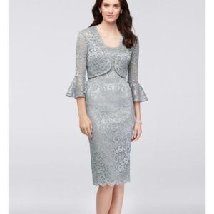 Glitter Lace Petite Dress with Bell-Sleeve Jacket
